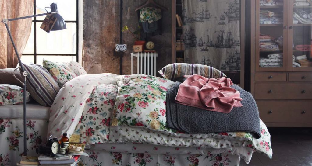 bedroom with floral bedsheet