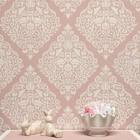 white lace stencil on pink wall