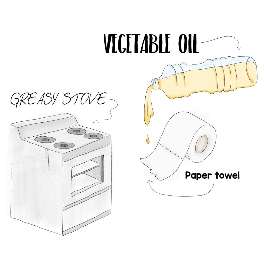 clean greasy stove with vegetable oil