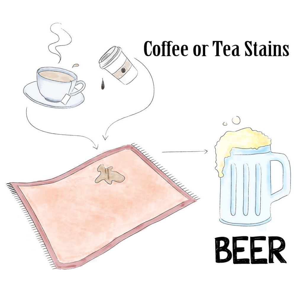 remove coffee/tea stain with beer