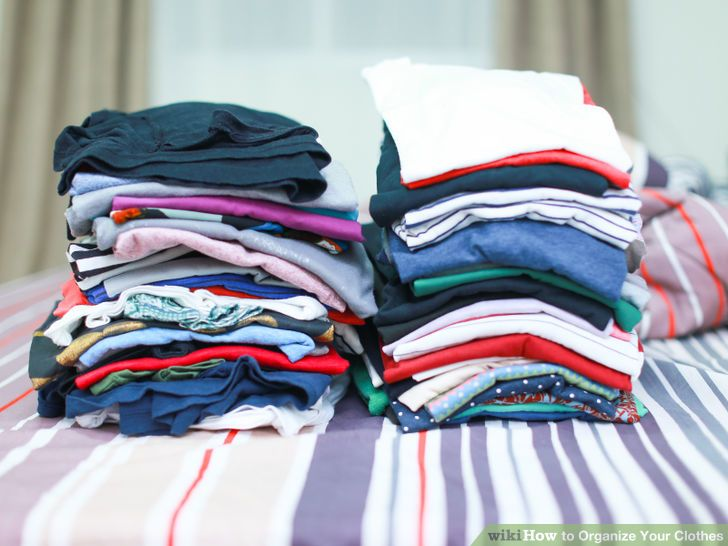 folded clothes in stacks