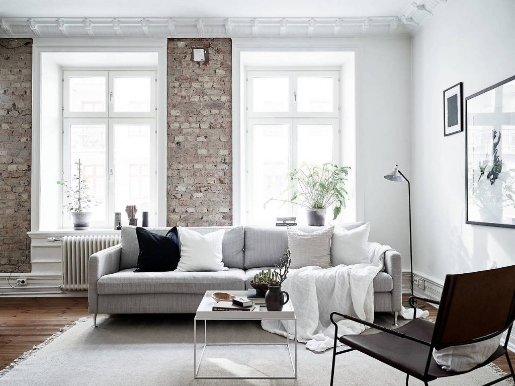 white walls - exposed brick