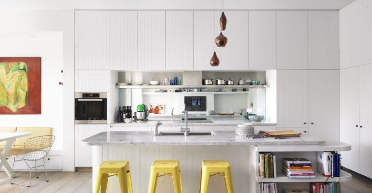 colour stools in all white kitchen