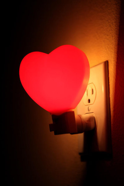 heart-shaped red night light