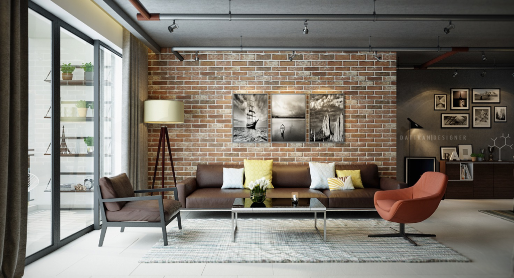 exposed brick in living room