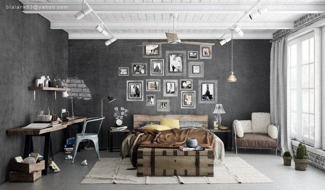 grey wall bedroom