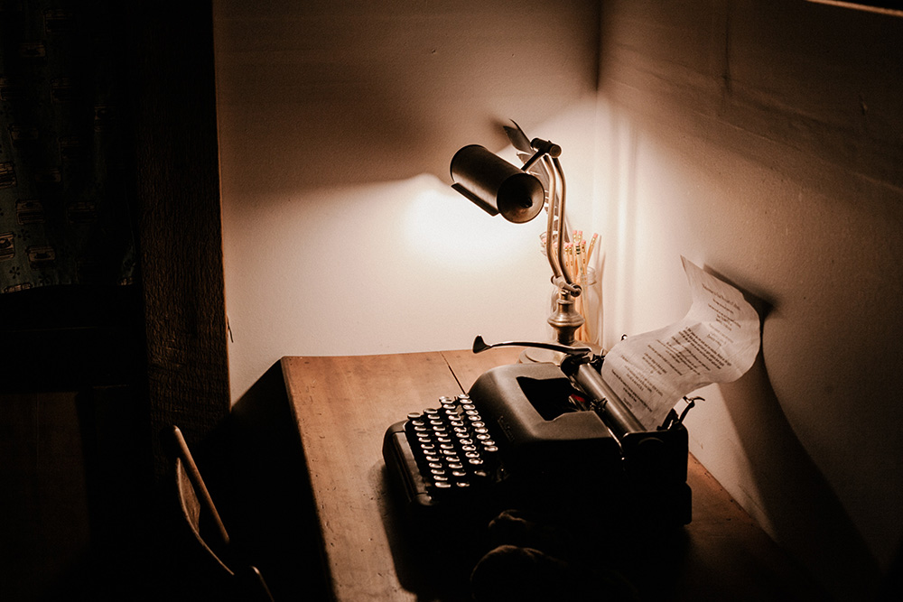 desk lamp and typewriter