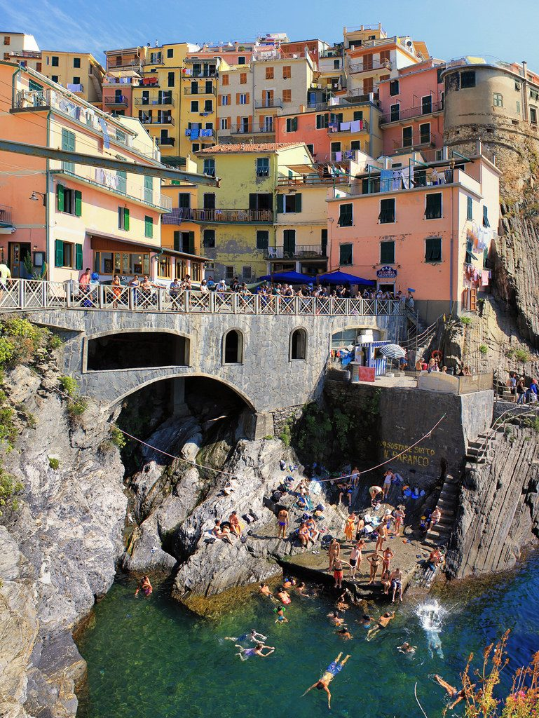 swimming in manarola village