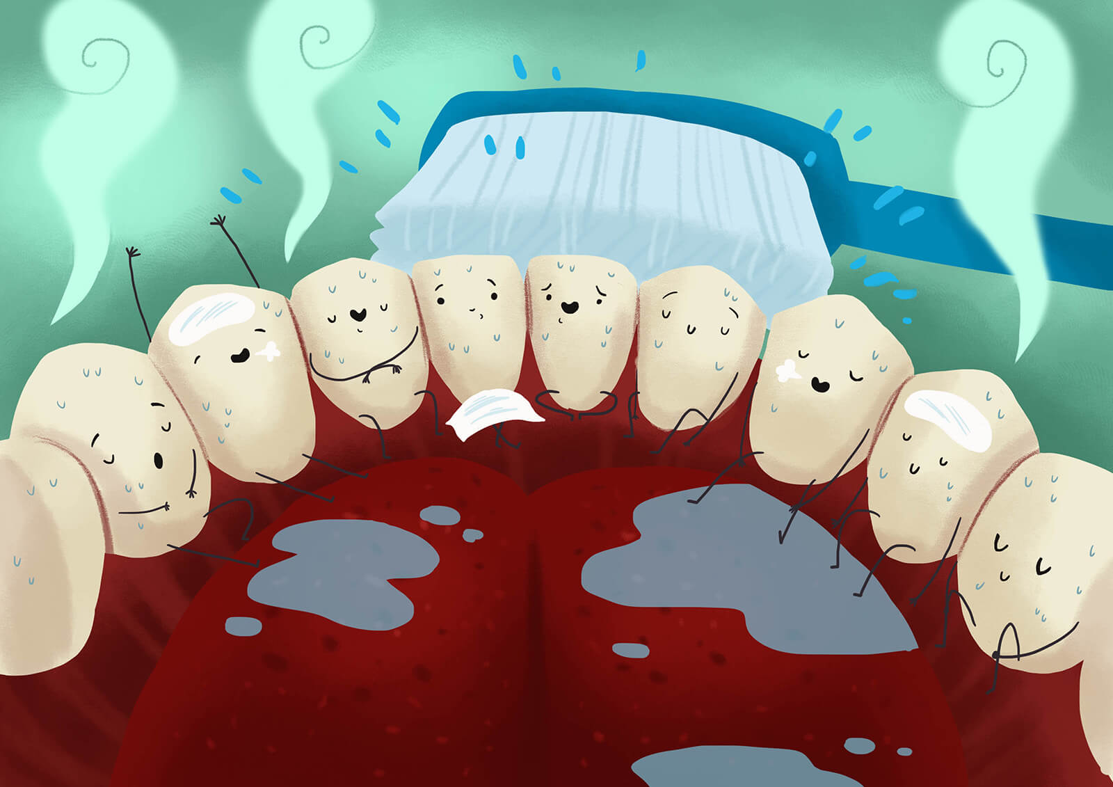 唾液有沖洗口腔的作用,一般感覺口乾舌燥,表示嘴裡唾液不足,無法維持口腔清潔,就會產生口臭。熬夜、水分攝取不足、鼻塞導致張口呼吸、情緒緊張等狀況都會讓唾液減少
