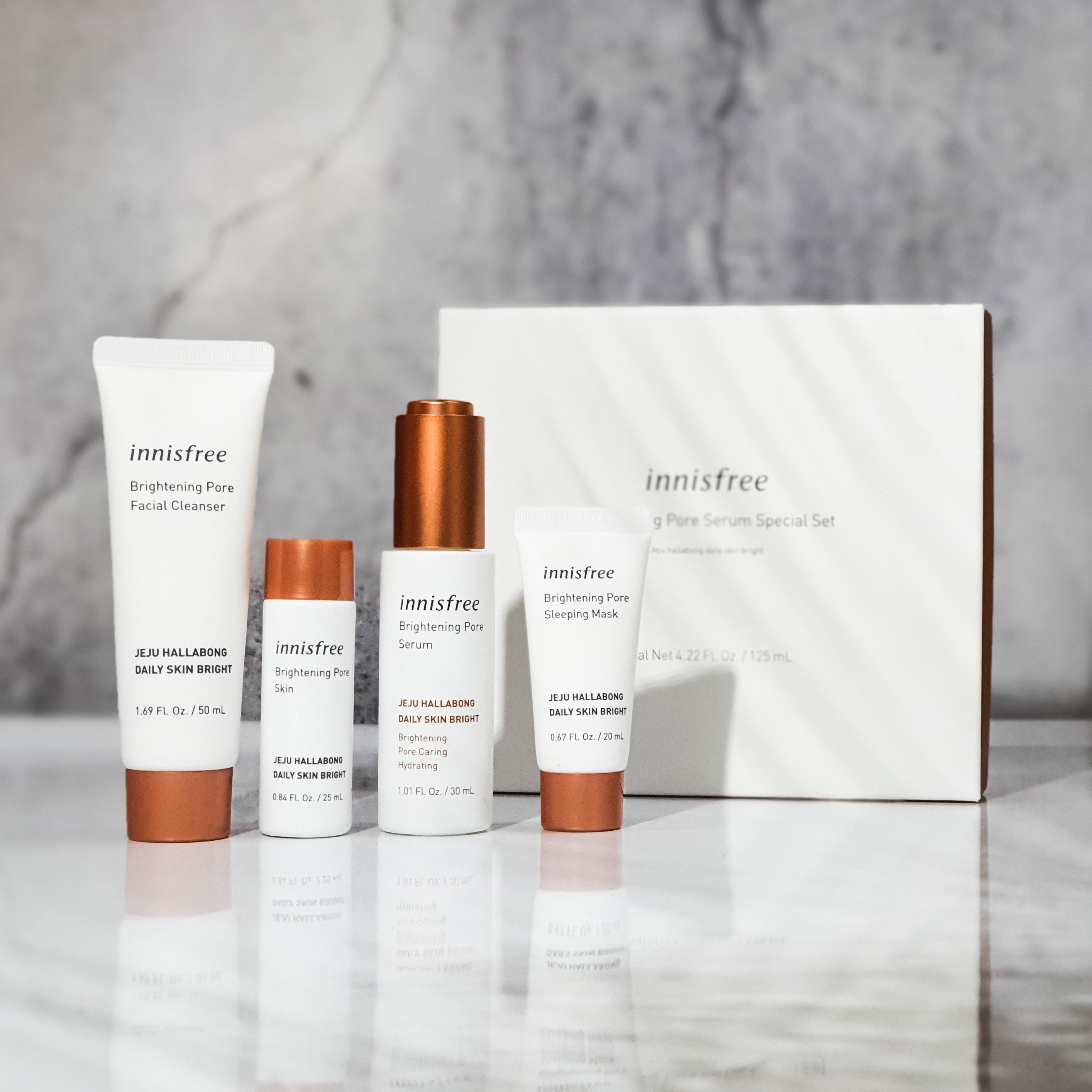 REVIEW   Innisfree Brightening Pore Serum Skincare Set