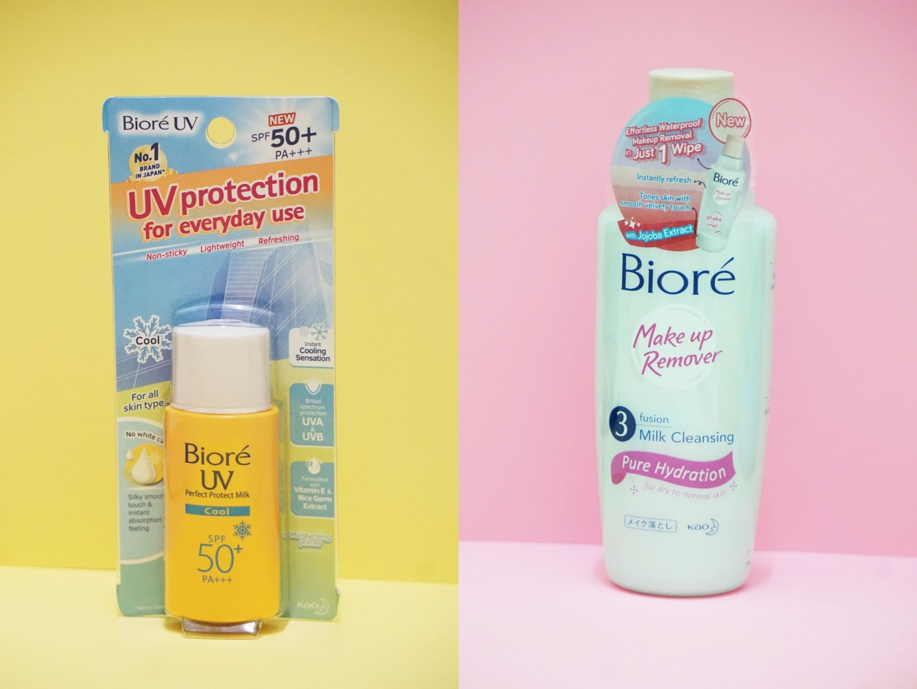 REVIEW | Biore 3 Fusion Milk Cleansing Make Up Remover & Biore UV Perfect Protect Milk Cool