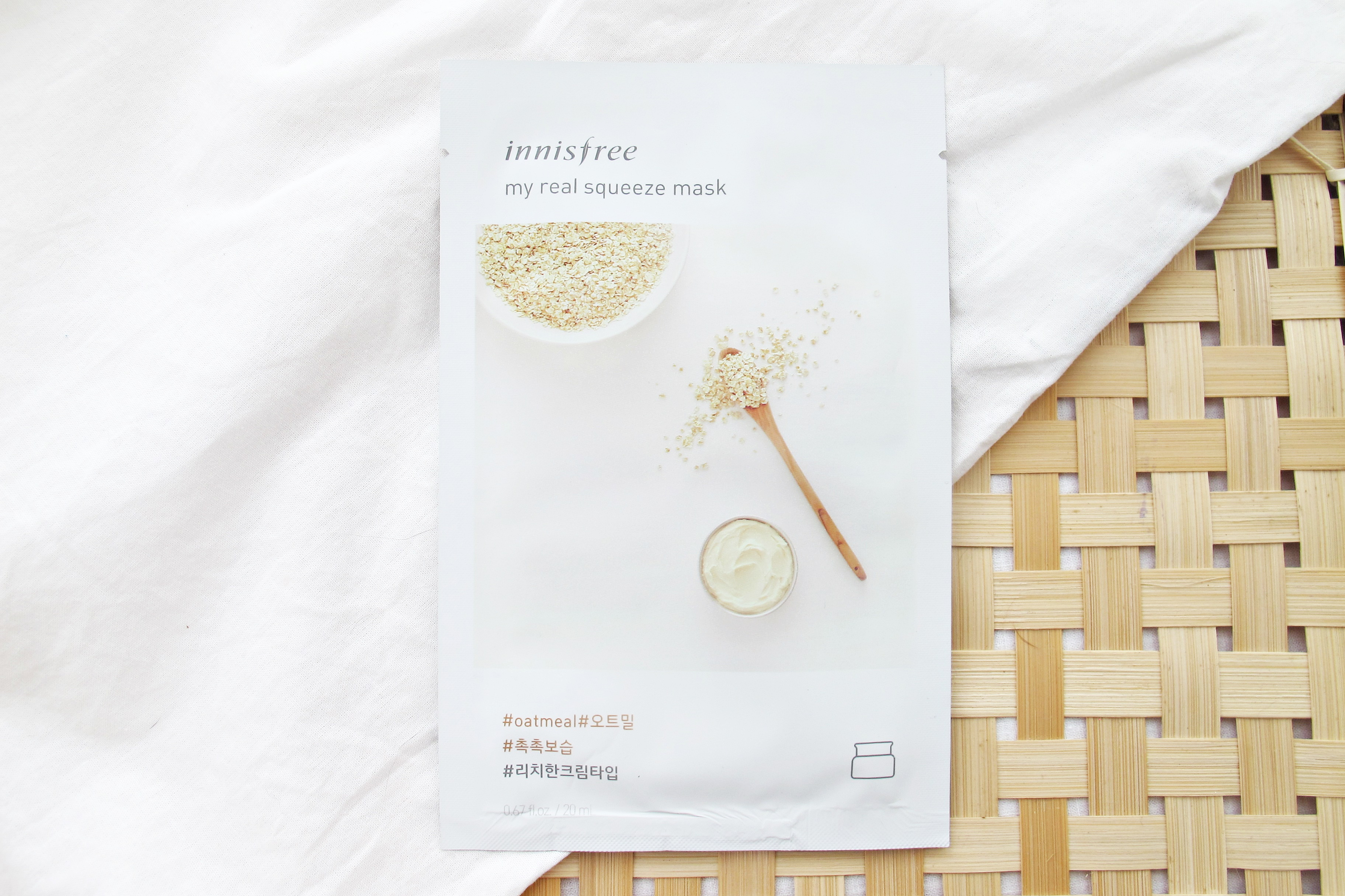 REVIEW   Innisfree My Real Squeeze Mask #Oatmeal