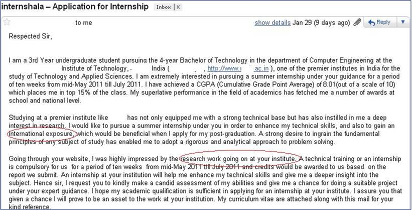 India Summer Internship Cover Letter 9 | Internshala blog
