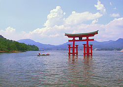 Torii of Itsukushima Shrine near Hiroshima, one of the Three Views of Japan and a UNESCO World Heritage Site
