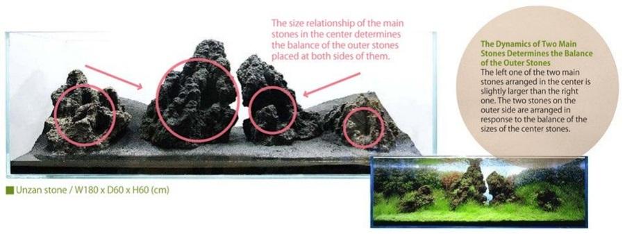 hai viên đá chính trong bố cục thủy sinh