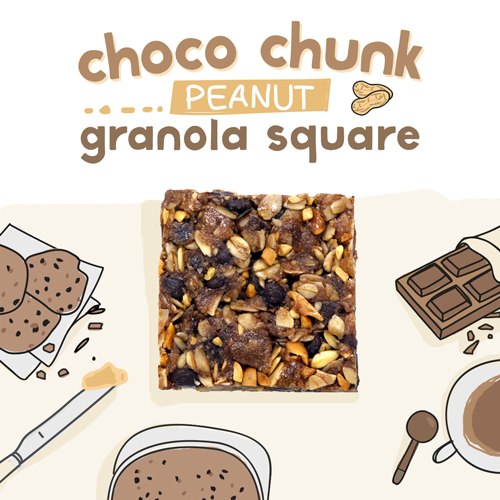 medium image of choco chunk peanut granola square