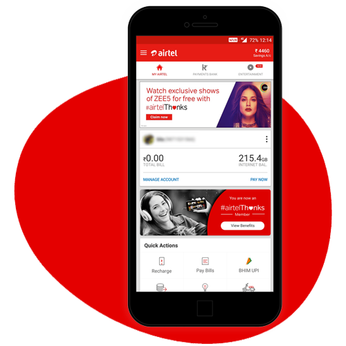 airtel prepaid postpaid broadband 4g dth services in india