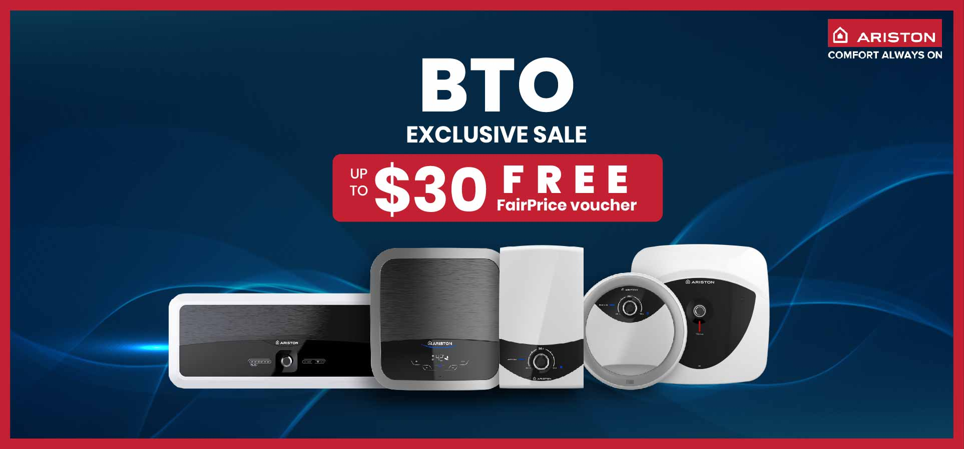 Get up to $30 FREE FairPrice Vouchers with Purchase of Selected Ariston Water Heaters From 25 Aug to 31 Oct 2020
