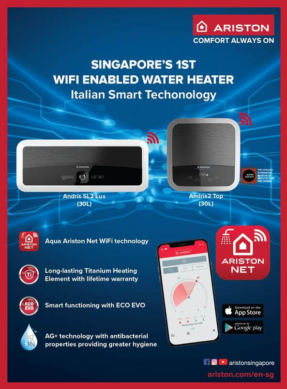 Get FREE $30 FairPrice Vouchers When You Upgrade Your Existing Water heater to Ariston WiFi Series From 1 Sep to 31 Oct 2020!