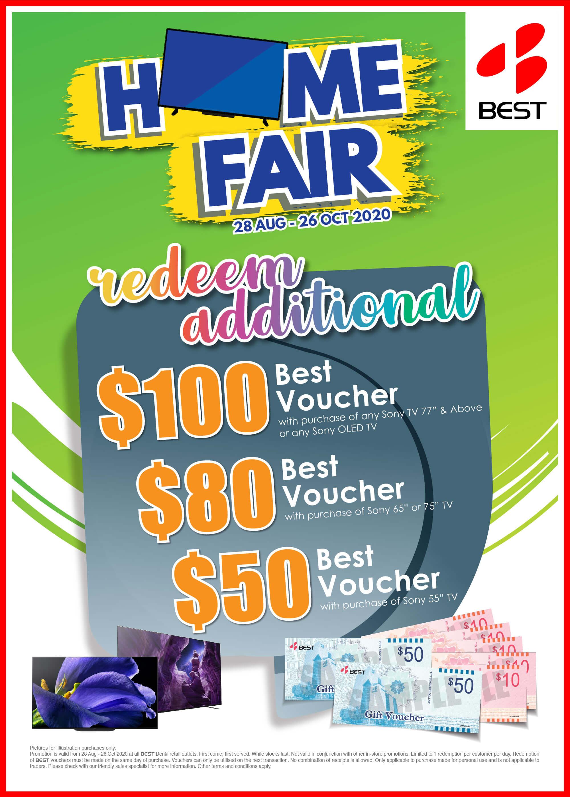 28 Aug to 26 Oct 2020: Best Denki Home Fair Redeem up to $100 Additional Best Vouchers