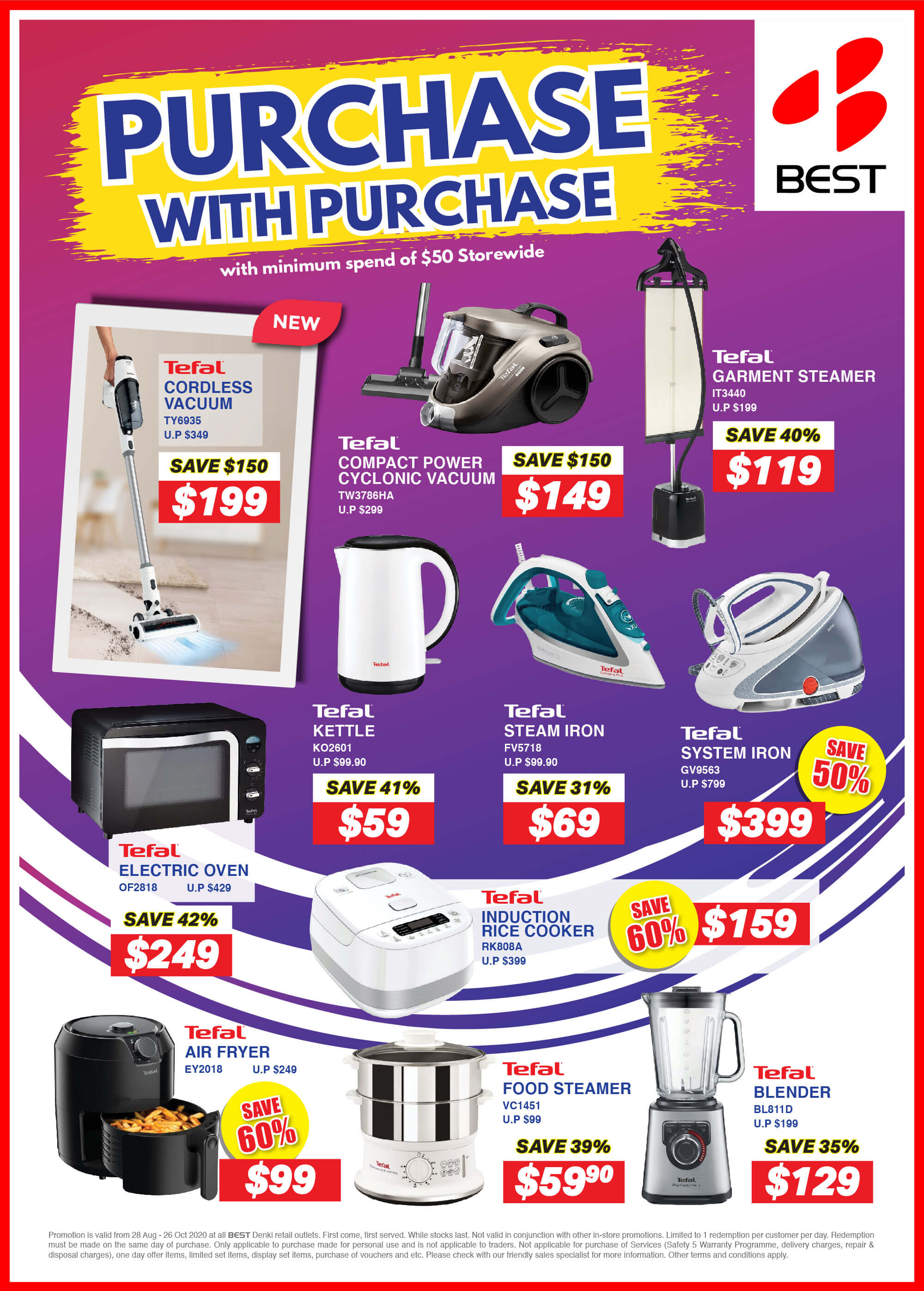 28 Aug to 26 Oct 2020: Best Denki Purchase with Purchase Promotion