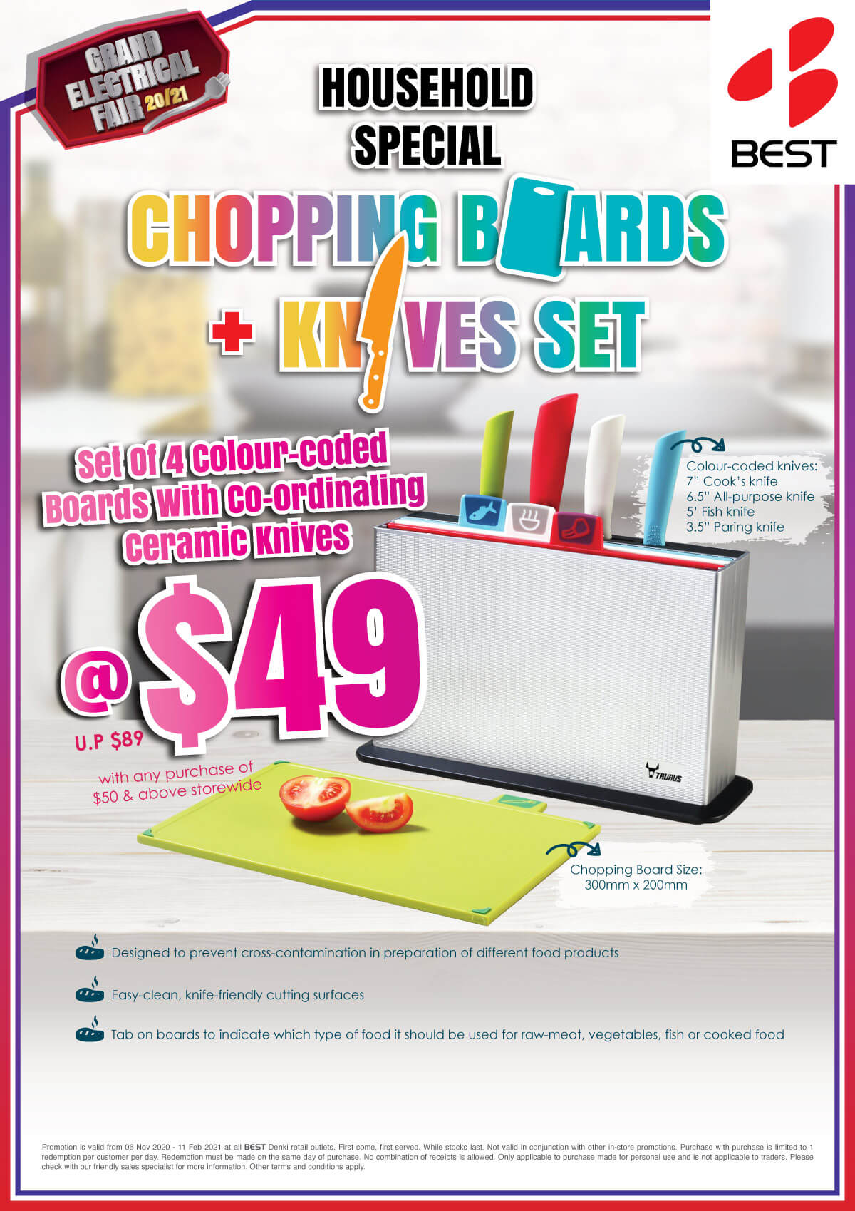 Best Denki Household Special Chopping Board and Knives Set at $49 with any purchase of $50 and above storewide