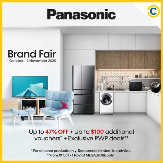 19 Oct 2020 to 01 Nov 2020: Panasonic Brand Fair Up to 47% Off, Up to $100 additional vouchers, Exclusive PWP Deals
