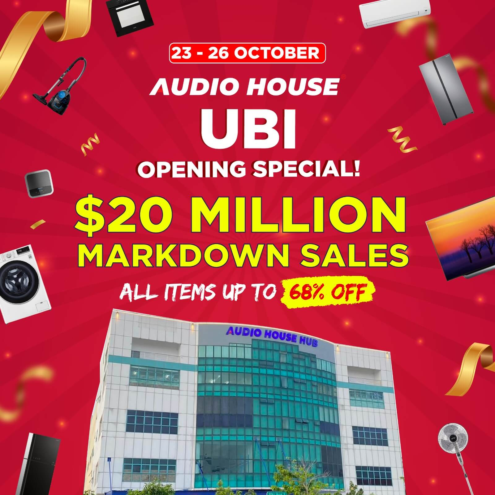 23 Oct   26 Oct: Audio House Opening Special All Items Up To 68% Off!