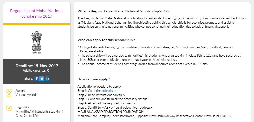 Begum Hazrat Mahal Scholarship Scheme for Girls