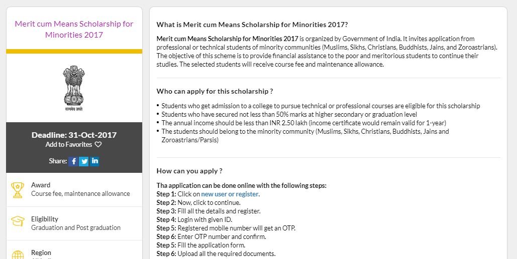 Merit cum Means Scholarship Scheme for Minorities