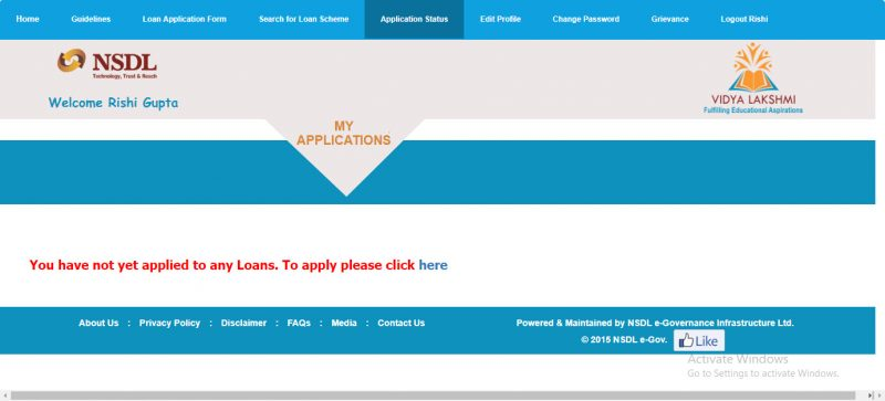 Vidyalakshmi Portal Education Loan Status
