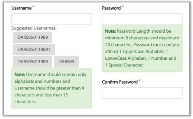 create username and password mahaDBT