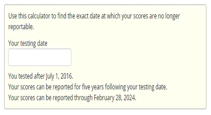 GRE Scorecard Score Deadline Calculator