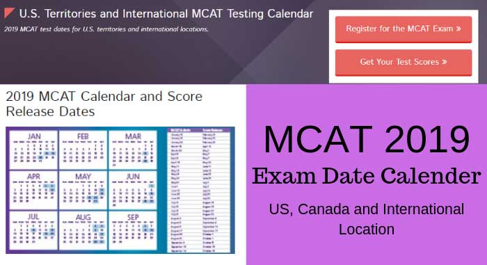 MCAT exam date calendar