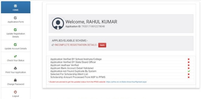 National Scholarship Portal User Dashboard
