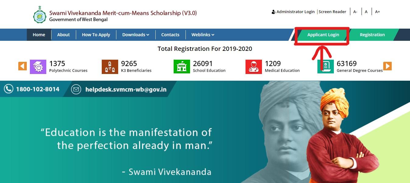 Swami Vivekananda Scholarship - Applicant Login