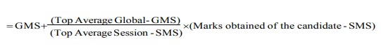 APSCHE uses the following formula to calculate the normalised score of the candidate