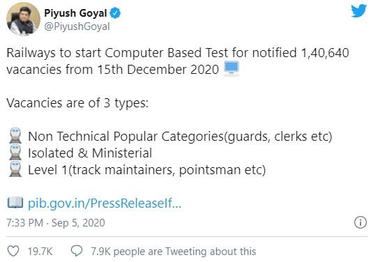 RRB NTPC Exam Date Twitter by Railway Minister, Mr. Piyush Goyal