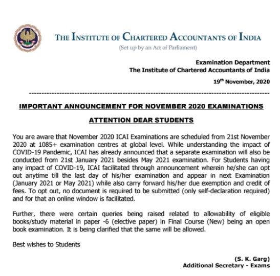 ICAI's Notice on Opt-Out