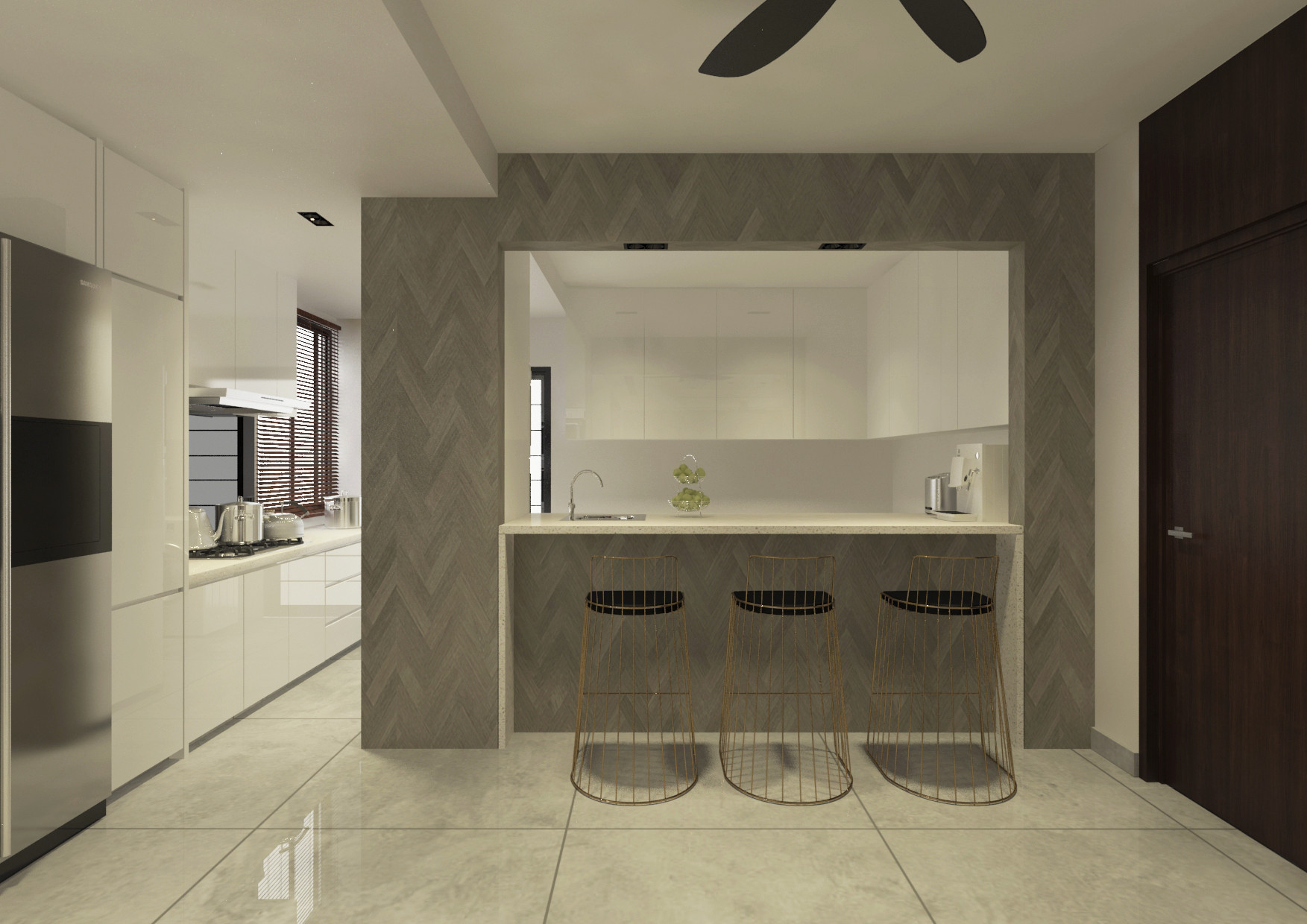 Dry & Wet Kitchen + Bar Counter Design