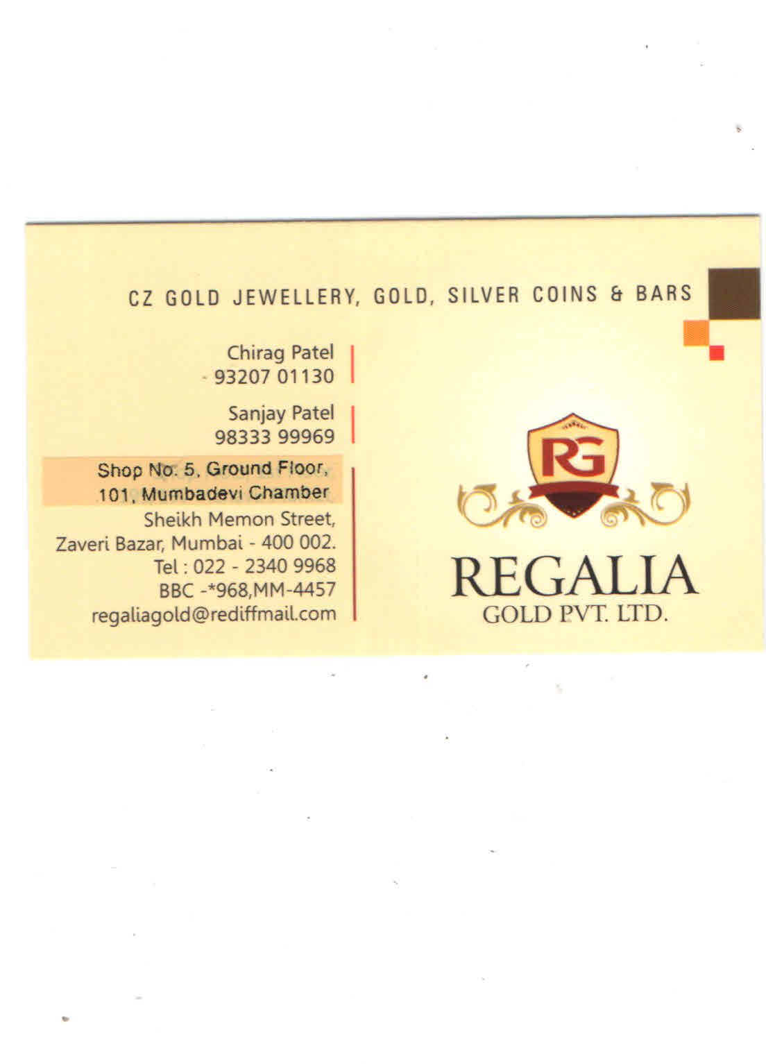 REGALIA GOLD PRIVATE LIMITED