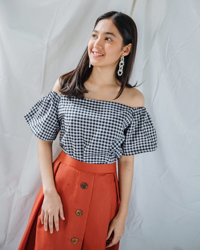 Off Shoulder Top Checkered