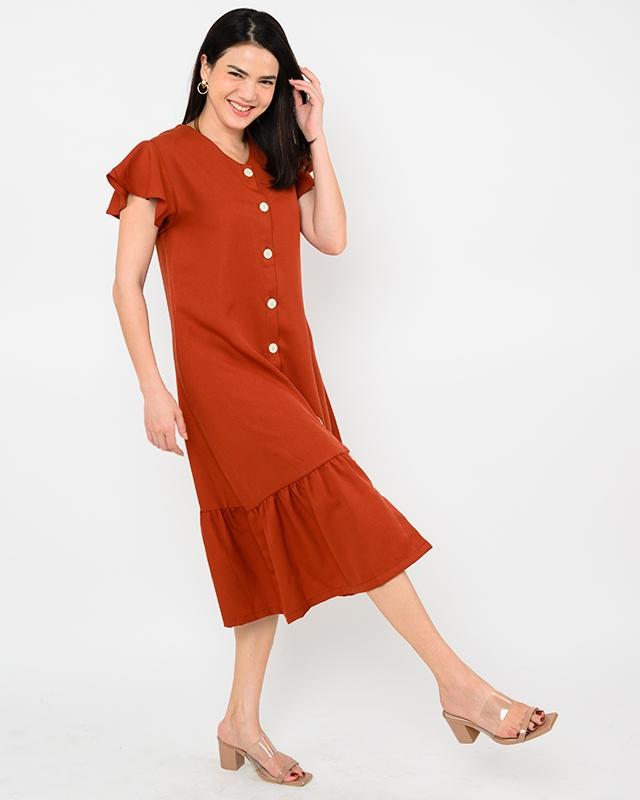 Ruffled Drop Waist Dress Terracotta
