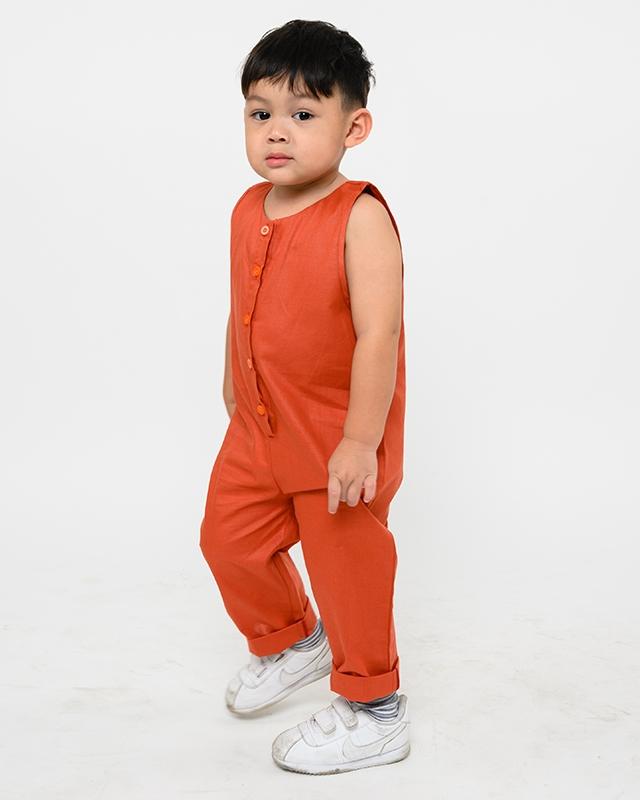 Button Sleeveless Jumpsuit Terracotta