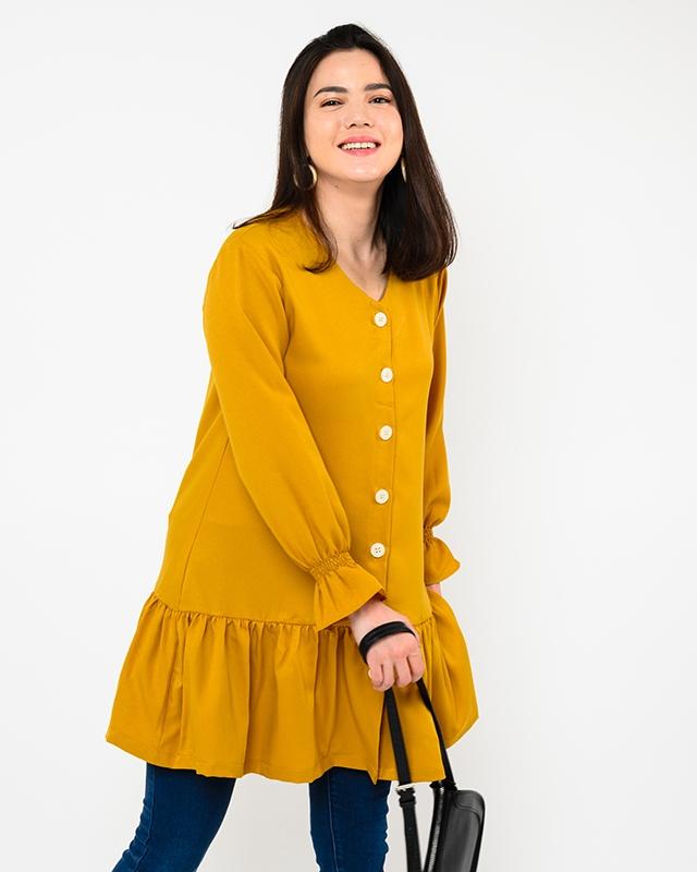 Ruffled Long Sleeve Drop Waist Dress Mustard