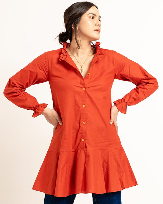 Drop Waist Dress Terracotta