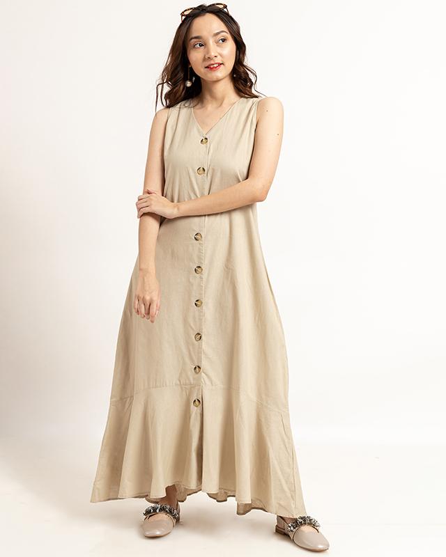 Ruffle Hem Sleeveless Dress Cream