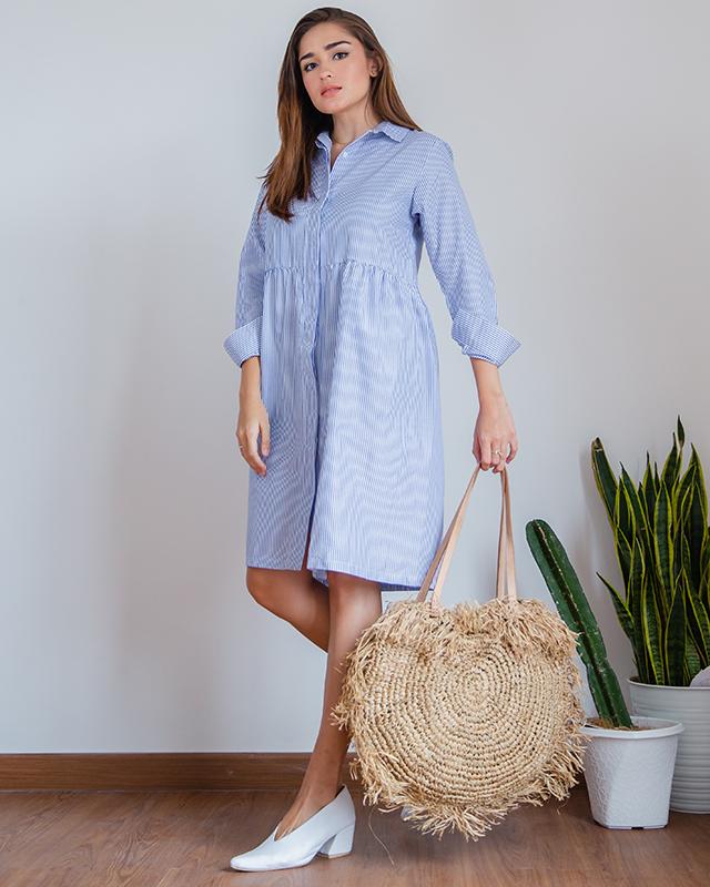 Babydoll Dress Stripe Blue