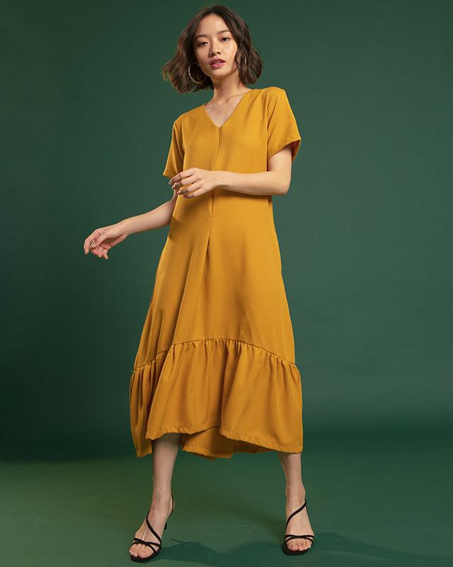 Ruffle Hem Maxi Dress Mustard