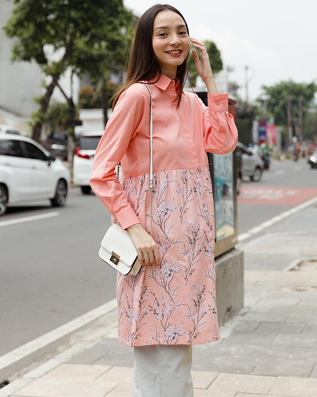 Babydoll Dress Floral Peach